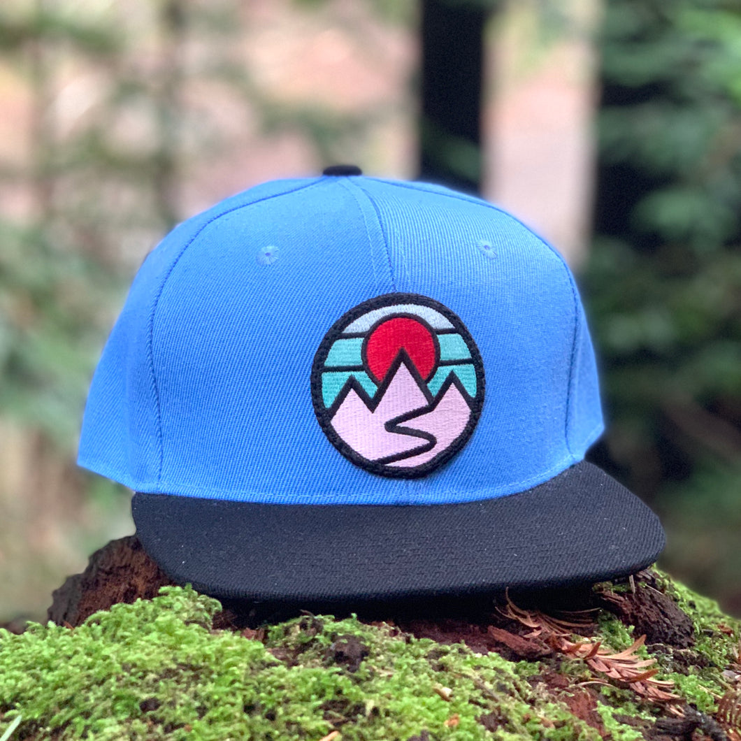 Flat-Brim Snapback (Columbia Blue/Black) with Mountains Patch