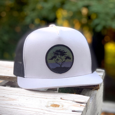 Blackout Flat-Brim Trucker (Grey/Black) with Cypress Patch