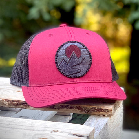 Blackout Trucker (Maroon/Black) with Mountains Patch