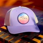 Curved-Brim Trucker (Lavender/Cream) with Birds Patch