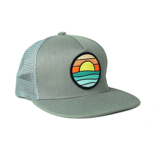 Flat-Brim Trucker (Light Grey) with Serenity Patch