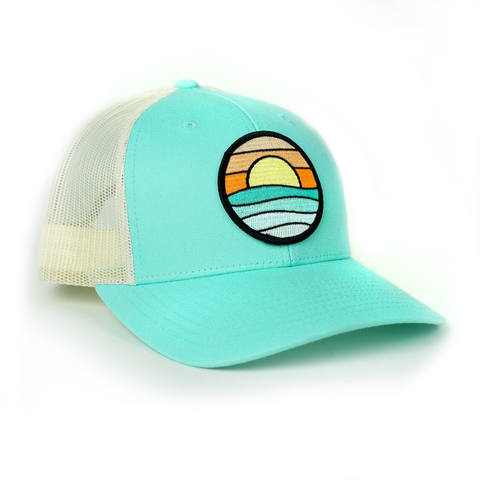 Curved-Brim Trucker (Seafoam/Sand) with Serenity Patch
