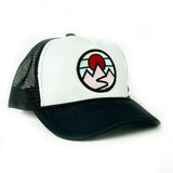 Foam-Front Trucker (Black/White) with Mountains Patch
