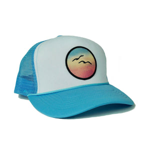 Foam-Front Trucker (Sky/White) with Birds Patch