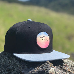 Flat-Brim Snapback (Black/Denim) with Birds Patch