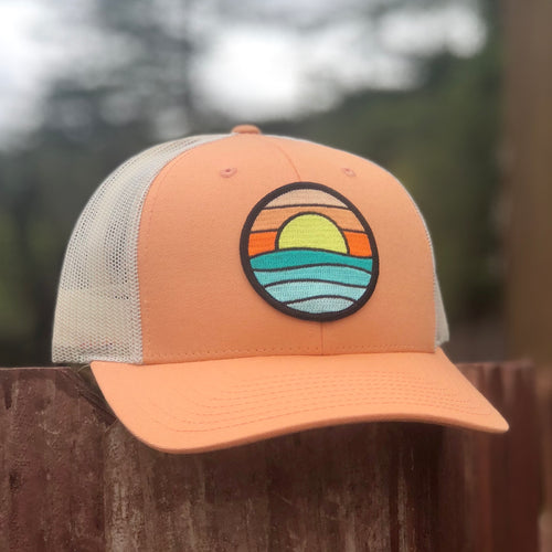 Curved-Brim Trucker (Peach/Sand) with Serenity Patch