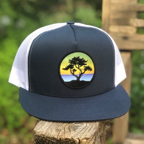 Flat-Brim Trucker (Navy/White) with Cypress Patch