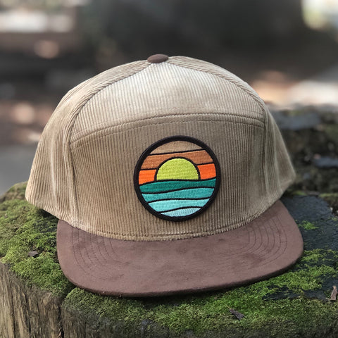 Corduroy Snapback Camper (Sand/Brown) with Serenity Patch