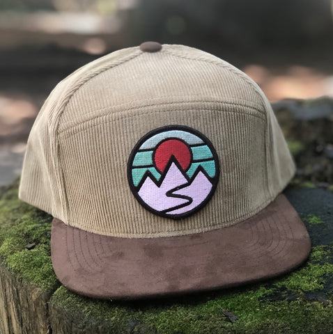 Corduroy Snapback Camper (Sand/Brown) with Mountains Patch