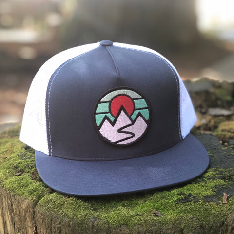 Flat-Brim Trucker (Navy/White) with Mountains Patch