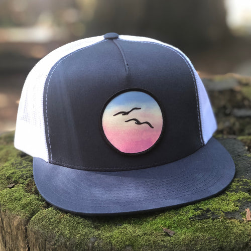 Flat-Brim Trucker (Navy/White) with Birds Patch