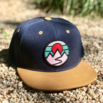 Flat-Brim Snapback (Navy/Gold) with Mountains Patch