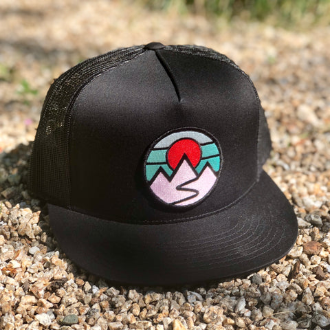 Flat-Brim Trucker (Black) with Mountains Patch