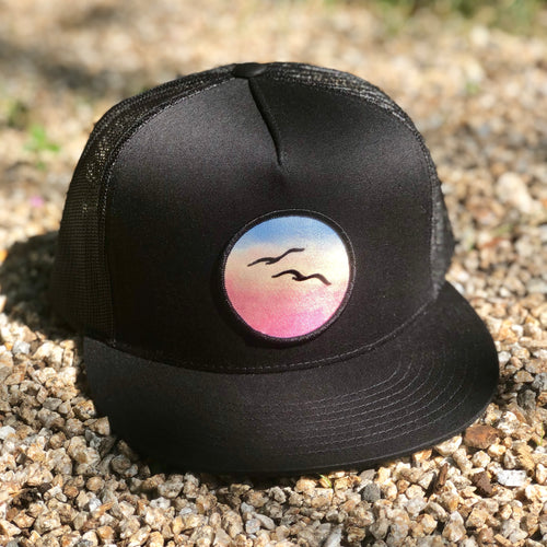 Flat-Brim Trucker (Black) with Birds Patch