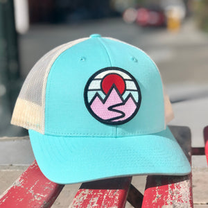 Curved-Brim Trucker (Seafoam/Sand) with Mountains Patch