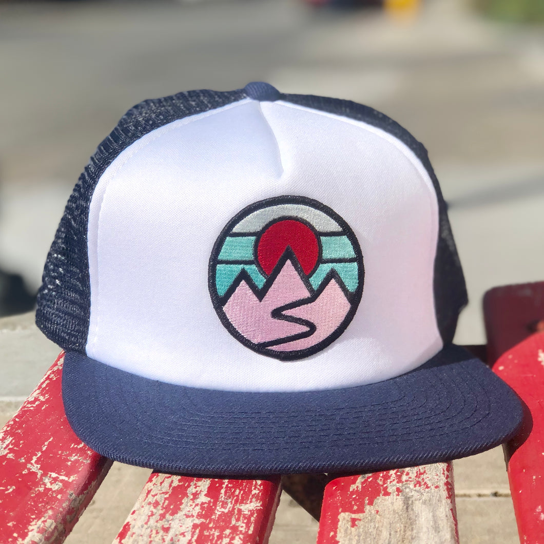 Flat-Brim Foam Trucker (Navy/White) with Mountains Patch