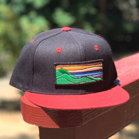 Flat-Brim Snapback (Black/Cardinal) with XL Ridgecrest Patch