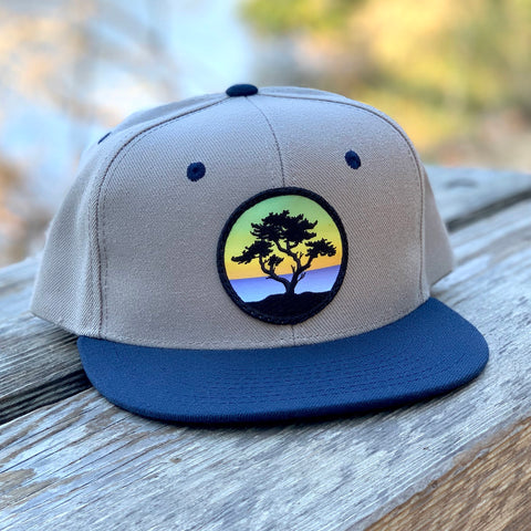 Flat-Brim Snapback (Grey/Navy) with Cypress Patch