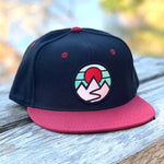 Flat-Brim Snapback (Black/Maroon) with Mountains Patch
