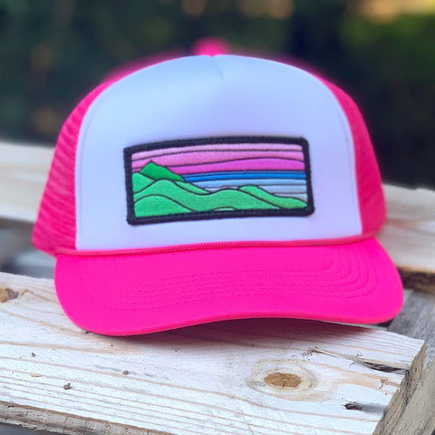 Foam-Front Trucker (Pink/White) with XL Ridgecrest Patch