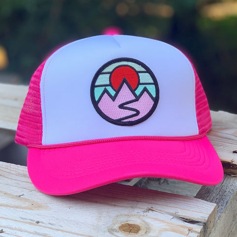 Foam-Front Trucker (Pink/White) with Mountains Patch