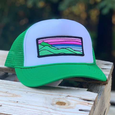 Foam-Front Trucker (Green/White) with XL Ridgecrest Patch