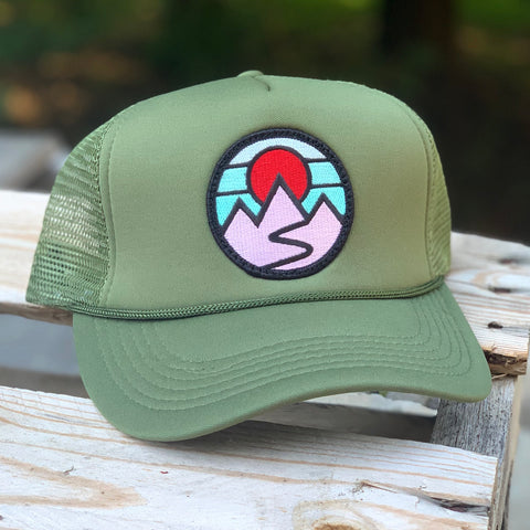 Foam-Front Trucker (Olive) with Mountains Patch