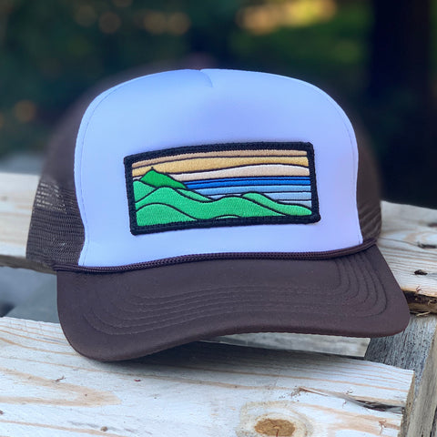 Foam-Front Trucker (Brown/White) with XL Ridgecrest Patch