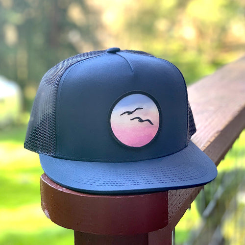 Flat-Brim Trucker (Navy) with Birds Patch