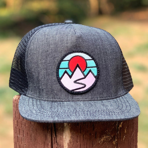 Denim Trucker (Black) with Mountains Patch