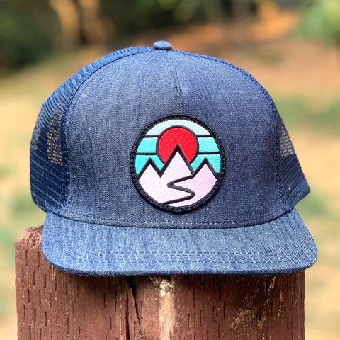 Denim Trucker (Navy) with Mountains Patch