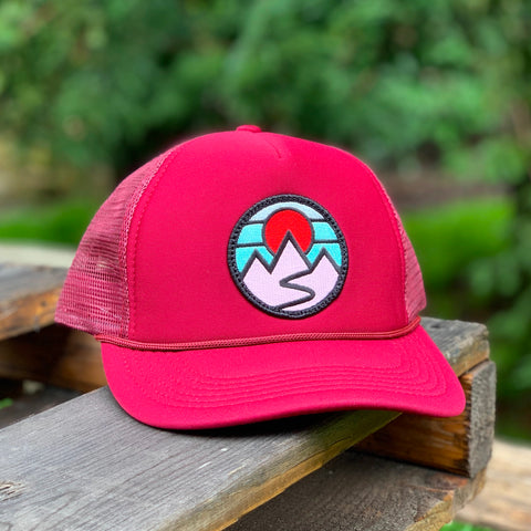 Foam-Front Trucker (Maroon) with Mountains Patch