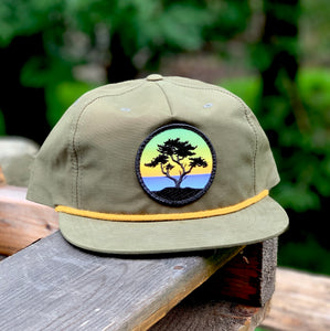 Flat-Brim Rope Hat (Olive/Gold) with Cypress Patch