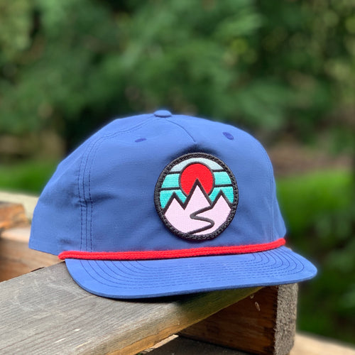 Flat-Brim Rope Hat (Blue/Red) with Mountains Patch