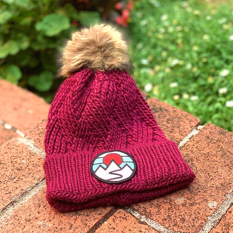 Faux-Fur Pom Beanie (Maroon) with Mountains Patch