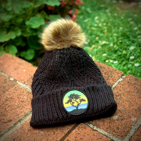 Faux-Fur Pom Beanie (Black) with Cypress Patch