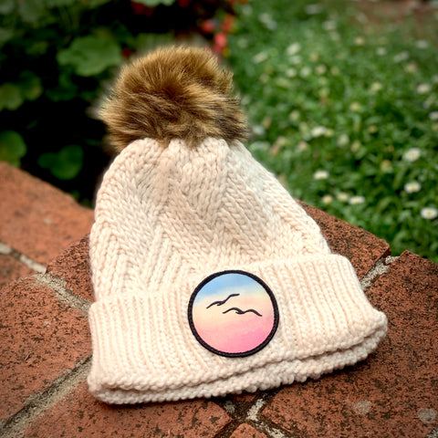 Faux-Fur Pom Beanie (White) with Birds Patch