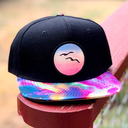 Special Edition Flat-Brim Snapback (Black/Rainbow) with Birds Patch