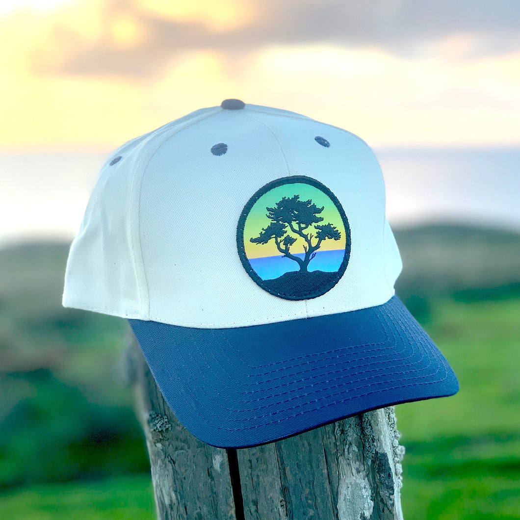 Classic Baseball Hat (Cream/Navy) with Cypress Patch