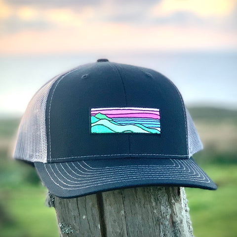 Curved-Brim Trucker (Black/Grey) with Ridgecrest Patch
