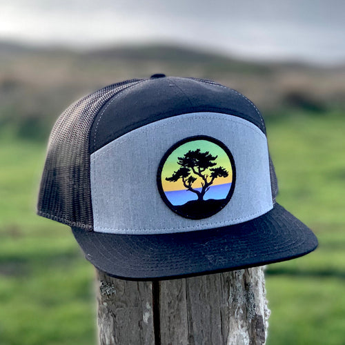 7-Panel Trucker (Black/Grey) with Cypress Patch