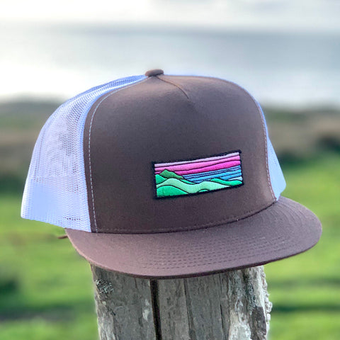 Flat-Brim Trucker (Brown/White) with Ridgecrest Patch