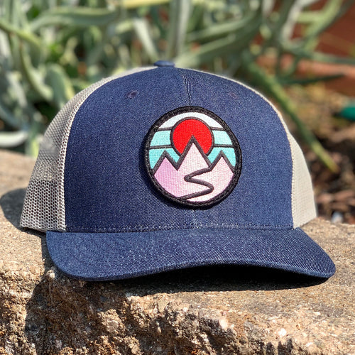 Curved-Brim Trucker (Blue/Black/White) with Serenity Patch