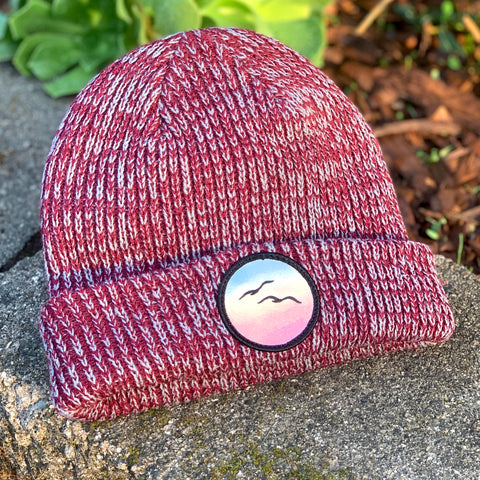 Classic Beanie (Maroon) with Birds Patch