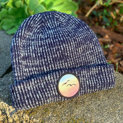Classic Beanie (Navy) with Birds Patch