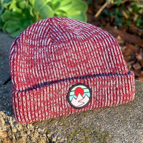 Classic Beanie (Maroon) with Mountains Patch
