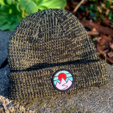Classic Beanie (Forest) with Mountains Patch