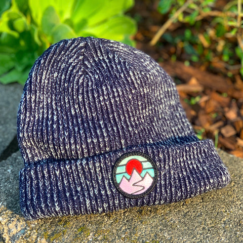 Classic Beanie (Navy) with Mountains Patch
