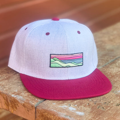 Flat-Brim Snapback (Grey/Maroon) with Ridgecrest Patch