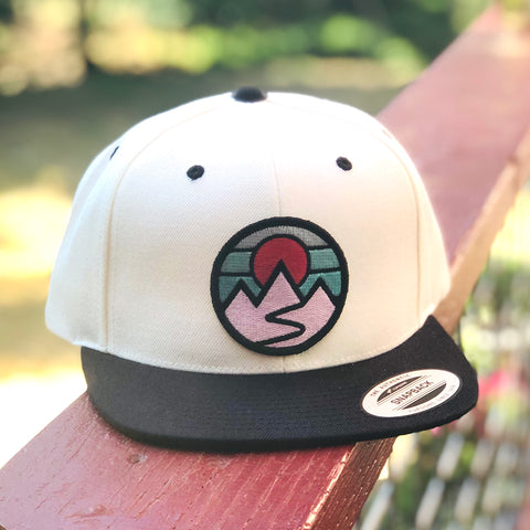 Flat-Brim Snapback (Cream/Black) with Mountains Patch